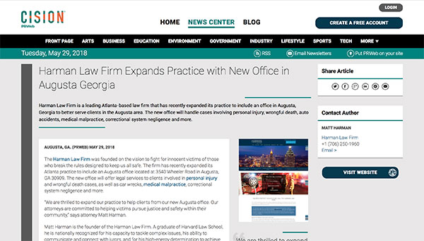Harman Law Firm Expands Practice with New Office in Augusta Georgia - Screenshot of the article.